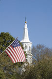 Nation and Church. Flag and Church Charleston, SC stock image