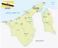 Nation der Brunei-Vektorkarte mit Flagge Lizenzfreie Stockfotografie