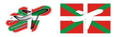 Nation flag - Airplane  - Basque Country Royalty Free Stock Images