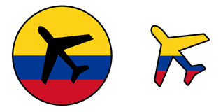 Nation flag - Airplane - Colombia. Nation flag - Airplane on white - Colombia stock illustration