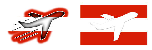 Nation flag - Airplane isolated - Austria Royalty Free Stock Image