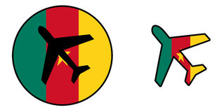Nation flag - Airplane isolated - Cameroon Stock Images