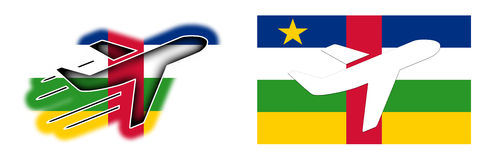 Nation flag - Airplane isolated - Central African Republic Stock Photography