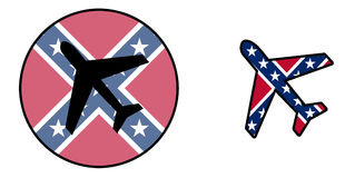 Nation flag - Airplane isolated - Confederate flag Stock Photo