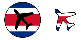 Nation flag - Airplane isolated - Costa Rica Royalty Free Stock Photos