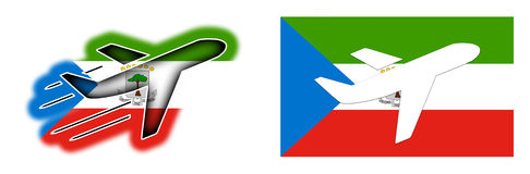 Nation flag - Airplane isolated - Equatorial Guinea Royalty Free Stock Photo