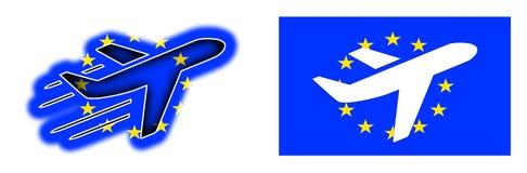 Nation flag - Airplane isolated - European Union Stock Photos