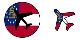 Nation flag - Airplane isolated - Georgia Stock Photos