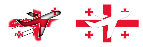 Nation flag - Airplane isolated - Georgia Stock Photo