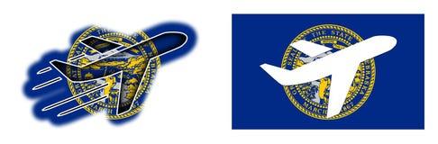 Nation flag - Airplane isolated - Nebraska Stock Image