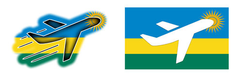 Nation flag - Airplane isolated - Rwanda Royalty Free Stock Photos