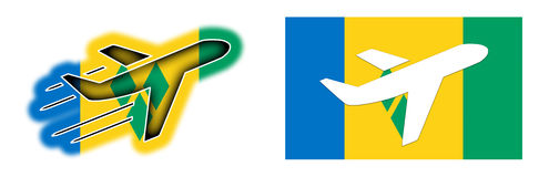 Nation flag - Airplane isolated - Saint Vincent and the Grenadin Stock Photos