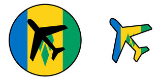 Nation flag - Airplane isolated - Saint Vincent and the Grenadines Royalty Free Stock Image