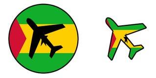 Nation flag - Airplane isolated - Sao Tome and Principe Royalty Free Stock Image