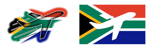 Nation flag - Airplane isolated - South Africa Stock Images