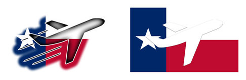 Nation flag - Airplane  - Texas Stock Images
