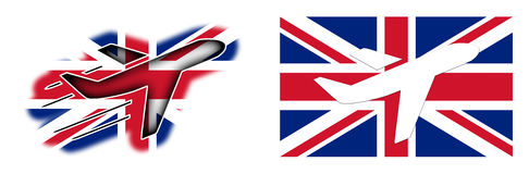 Nation flag - Airplane  - United Kingdom. Nation flag - Airplane  on white - United Kingdom Stock Photography