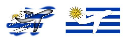 Nation flag - Airplane  - Uruguay Stock Photo