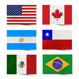 Nation Flag ( America ) tag recycled paper. Nation Flag ( America 01) . tag recycled paper craft stick on white background vector illustration