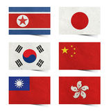 Nation Flag ( asia ) tag recycled paper. Nation Flag ( asia 01) . tag recycled paper craft stick on white background . North Korea Rp., South Korea , Japan stock image