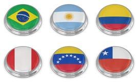 Nation flag icon set. Computer generated image. 3d render stock illustration