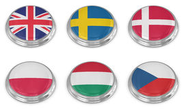 Nation flag icon set Royalty Free Stock Images
