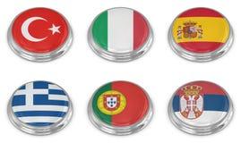 Nation flag icon set Royalty Free Stock Photo