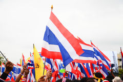 Nation flag of Thailand ,Thai Anti-Government Protesters in Bangkok ,Thailand Royalty Free Stock Photos