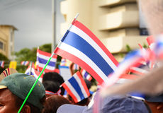 Nation flag of Thailand ,Thai Anti-Government Protesters in Bangkok ,Thailand Stock Photography