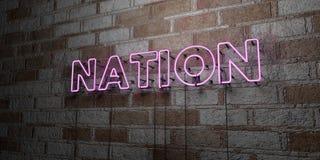 NATION - Glühende Leuchtreklame auf Steinmetzarbeitwand - 3D übertrug freie Illustration der Abgabe auf Lager Lizenzfreies Stockfoto
