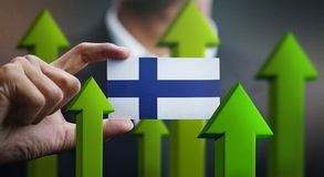 Nation Growth Concept, Green Up Arrows - Businessman Holding Car. D of Finland Flag stock illustration