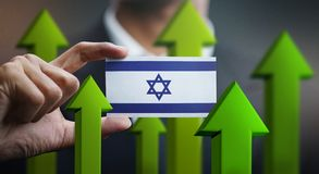 Nation Growth Concept, Green Up Arrows - Businessman Holding Car. D of Israel Flag stock illustration