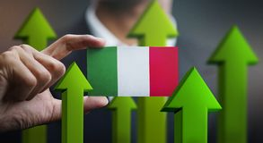 Nation Growth Concept, Green Up Arrows - Businessman Holding Car. D of Italy Flag vector illustration