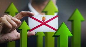 Nation Growth Concept, Green Up Arrows - Businessman Holding Car. D of Jersey Flag vector illustration