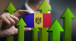 Nation Growth Concept, Green Up Arrows - Businessman Holding Car. D of Moldova Flag royalty free illustration