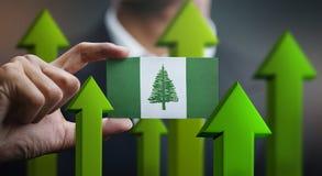 Nation Growth Concept, Green Up Arrows - Businessman Holding Car. D Norfolk Island Flag stock illustration