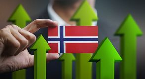 Nation Growth Concept, Green Up Arrows - Businessman Holding Car. D Norway Flag vector illustration