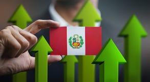 Nation Growth Concept, Green Up Arrows - Businessman Holding Car. D Peru Flag vector illustration