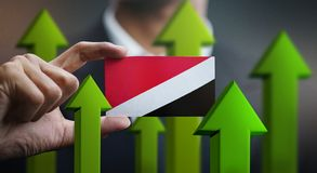 Nation Growth Concept, Green Up Arrows - Businessman Holding Car. D of Principality of Sealand Flag stock illustration
