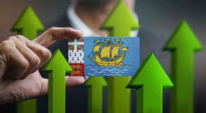 Nation Growth Concept, Green Up Arrows - Businessman Holding Car. D of Saint Pierre and Miquelon Flag stock illustration