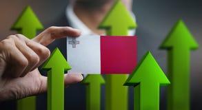 Nation Growth Concept, Green Up Arrows - Businessman Holding Car. D of Malta Flag stock illustration