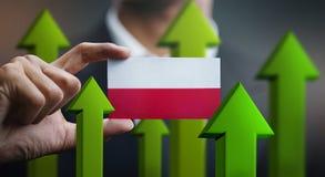 Nation Growth Concept, Green Up Arrows - Businessman Holding Car. D Poland Flag stock illustration