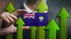 Nation Growth Concept, Green Up Arrows - Businessman Holding Car. D of Saint Helena Flag stock illustration