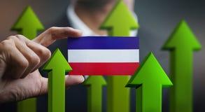 Nation Growth Concept, Green Up Arrows - Businessman Holding Car. D of Los Altos Flag vector illustration