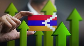 Nation Growth Concept, Green Up Arrows - Businessman Holding Car. D of Nagorno-Karabakh Republic Flag vector illustration