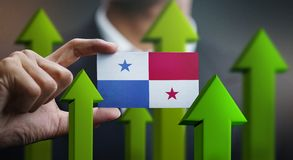 Nation Growth Concept, Green Up Arrows - Businessman Holding Car. D of Panama Flag stock illustration