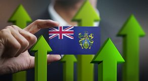 Nation Growth Concept, Green Up Arrows - Businessman Holding Car. D Pitcairn Islands stock illustration