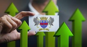 Nation Growth Concept, Green Up Arrows - Businessman Holding Car. D of Saint Barthélemy Flag royalty free illustration