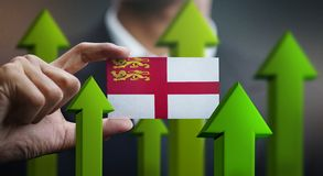 Nation Growth Concept, Green Up Arrows - Businessman Holding Car. D of Sark Flag stock illustration
