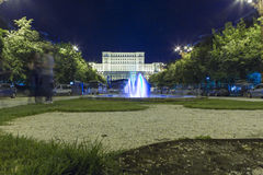Nation House. The Nation House and Unirii boulevard from Bucharest, Romania, night view royalty free stock image